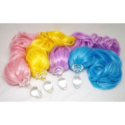 Colorful Pony Tail Clear Glass Anal Plug