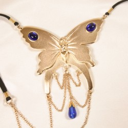 Gold Butterfly Clitoral G-String with Saphire Gems
