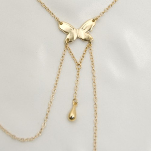 Gold Butterfly Nipple Necklace with Non Piercing Nipple Chains