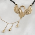 Gold Caressing Swan Triple Teardrop Dangler G-String