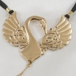 Gold Caressing Swan Triple Teardrop Dangler G-String