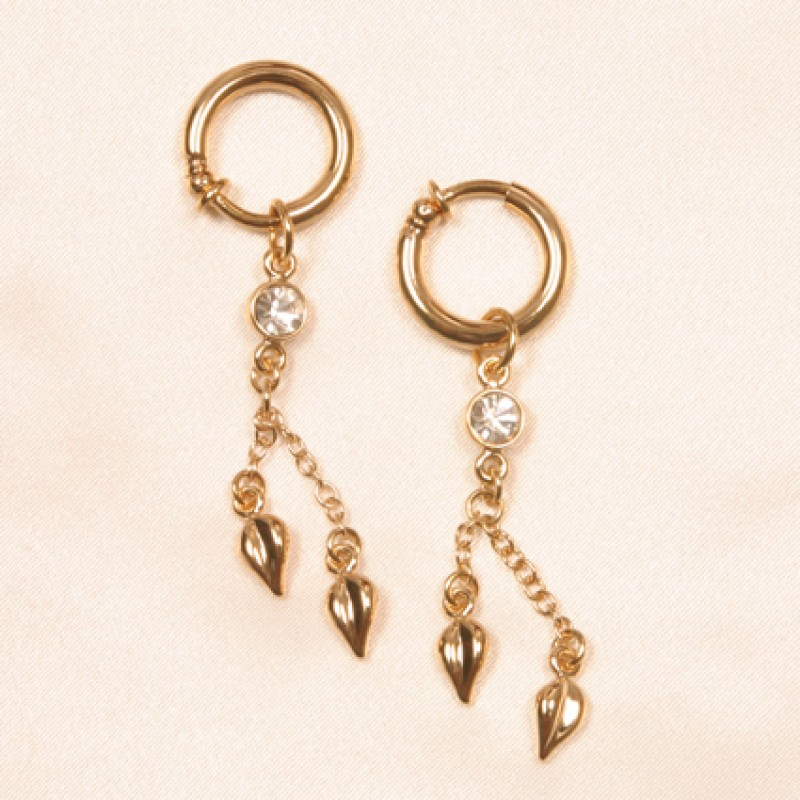 Gold clitoris jewelry rings with crystal gem dangling leaves for Non piercing clitoral jewelry