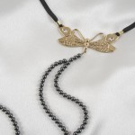 Gold Dragonfly Double Hematite Pearl Beaded G-String