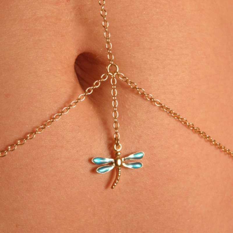 Gold dragonfly gemstone necklace waist chain for Necklace belly chain jewelry
