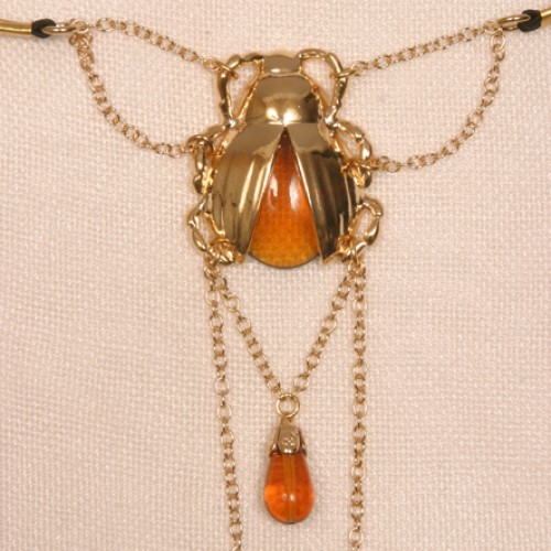 Gold Scarab Clitoral Pendant G-String Jewelry