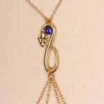 Gold Serpent with Blue Gemstone Nipple Necklace