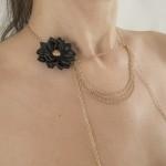 Gold Strings of Love Drape Chain Black Flower Nipple Necklace