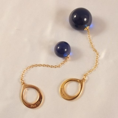 Night Blue Crystal Anal Ball with Gold Ring