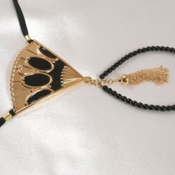 Ornate Gold Fan and Tassel Double Black Beaded Pearl G-String