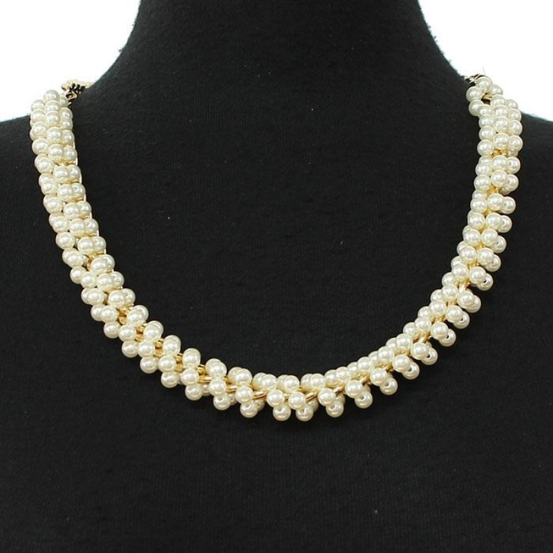 pearl necklace gold tone chain jewelry