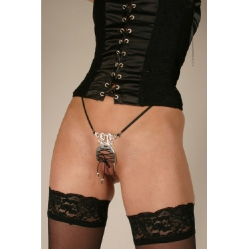 Silver Dolphin Lace Up Labia Corset G-String