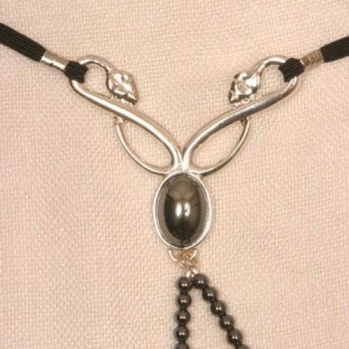 Silver Serpent Clitoris G-String with Hematite Gem