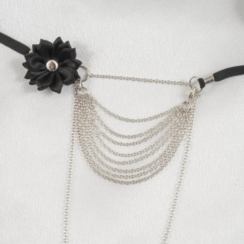 Silver Strings Of Love G-String with Black Satin Flower & Drape Chains