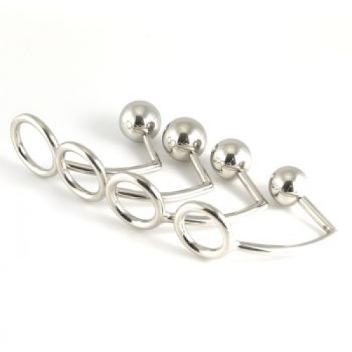 Stainless Steel Cock Ring with Anal Ball