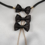 Symphony Gold G-String with Black Satin Bows