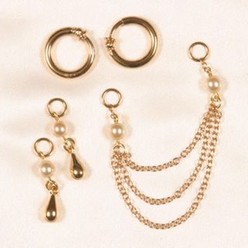White pearls gold hoop non piercing labia jewelry ring set for Non piercing clitoral jewelry
