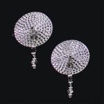 Bijoux de Nip Round Silver Crystal Pasties w/ Faceted Beads