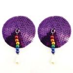 Bijoux de Nip Round Purple Sequin Pasties w/ Rainbow Beads