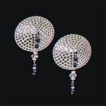 Bijoux de Nip Round Silver Crystal Pasties w/ Purple Beads