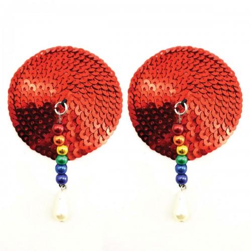 Bijoux de Nip Round Red Sequin Pasties w/ Rainbow Beads