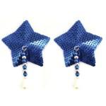 Bijoux de Nip Star Blue Sequin Pasties w/ Beads