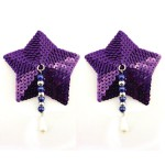 Bijoux de Nip Star Purple Sequin Pasties w/ Beads