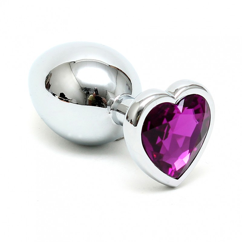 Crystal Heart Shaped Silver Butt Plug